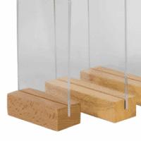 Porte menu en plexiglass avec base en bois