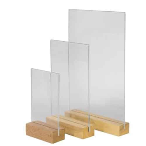 porte menu plexiglass base bois