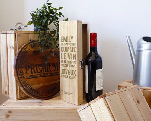 coffret en bois personnalisé cadeau