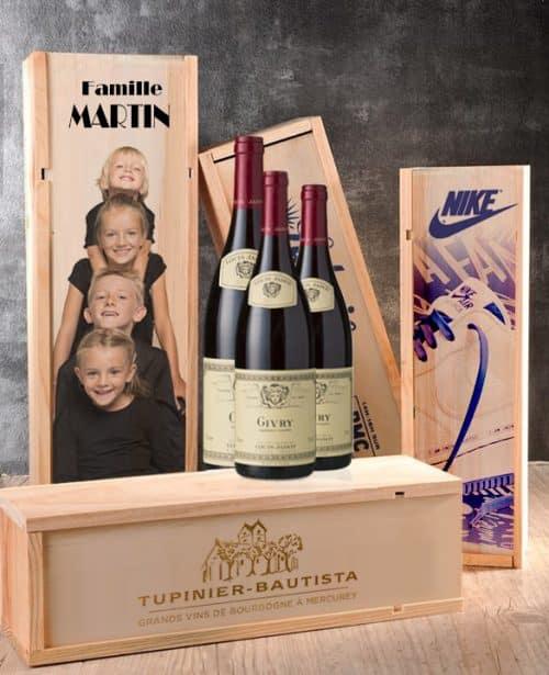 caisse à vin imprimée