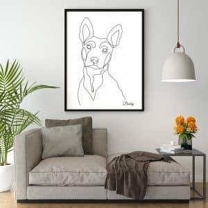 Tableau line art chien berger allemand personnalisé