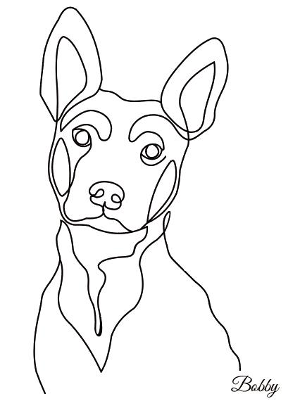 Tableau line art chien personnalisé
