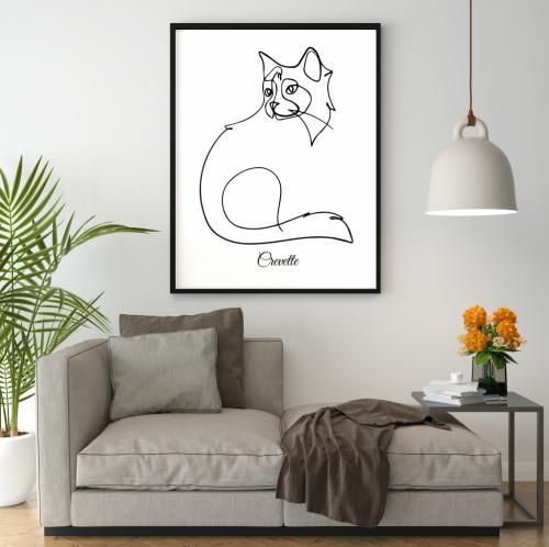 Tableau line art chat personnalisé