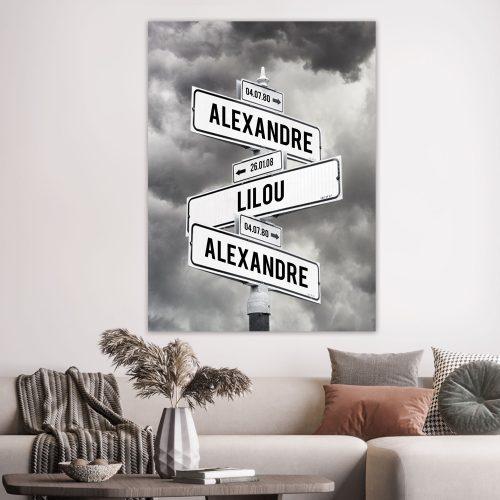 tableau de prénoms personnalisable avec des nuages en noir et blanc
