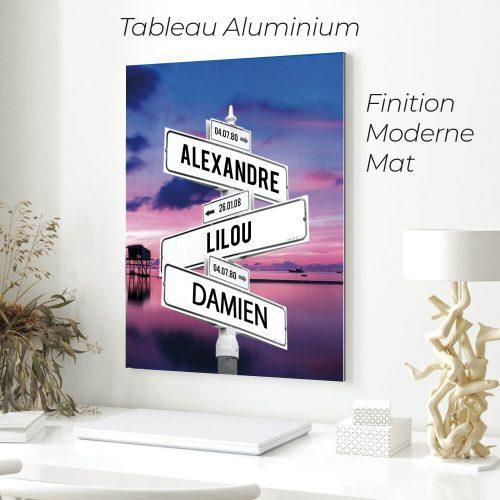 tableau de prenoms personnalise sur aluminium avec fond lac