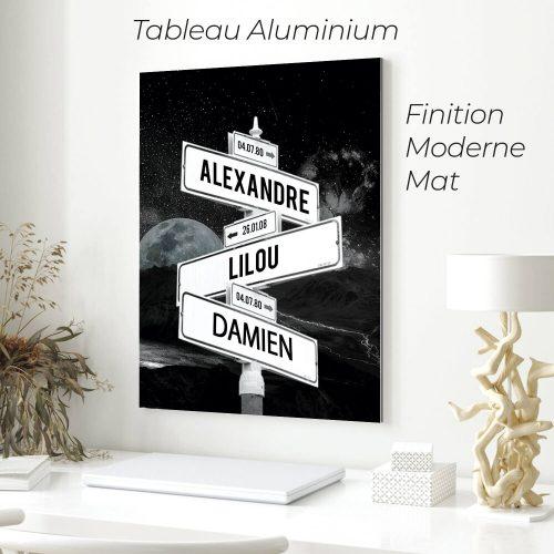 tableau de prenoms personnalise sur aluminium avec fond lune