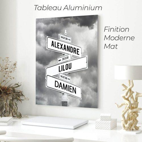 tableau de prenoms personnalise sur aluminium avec fond nuages