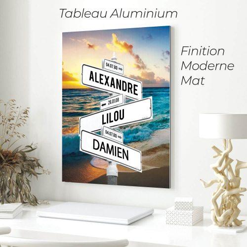 tableau de prenoms personnalise sur aluminium avec fond plage